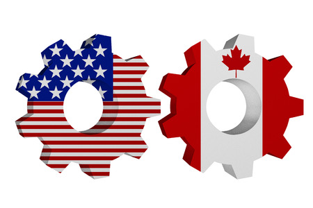 US working with Canada, Two cogwheel gear mechanism pieces with the US flag and Canadian flag isolated over white photo
