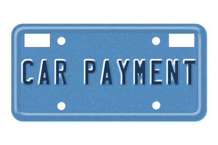 borrowing: The words Car Payment on a blue license plate isolated on white Stock Photo