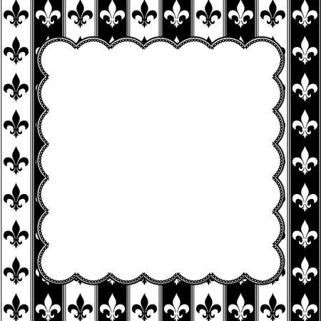 fleur de lis: Black and White Fleur De Lis Pattern Textured Fabric  with Embroidery Background with center copy-space, Classic Background
