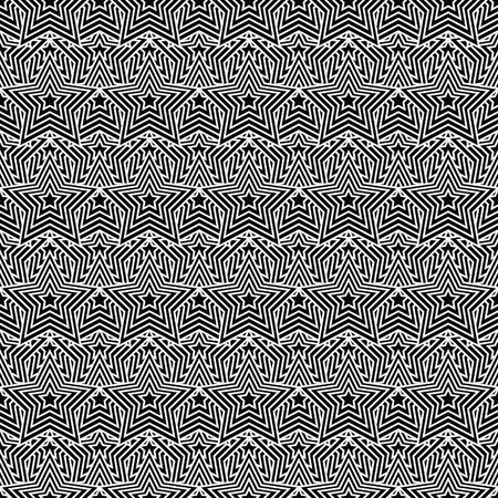 Black and White Star Tiles Pattern Repeat Background that is seamless and repeats 写真素材