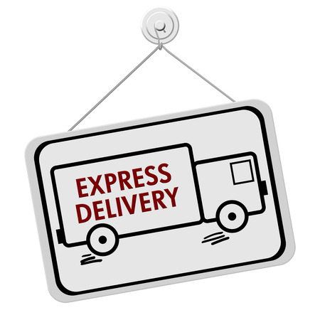 overnight: A red and white sign with the words Express Delivery in a truck isolated on a white background, Express Delivery Sign Stock Photo