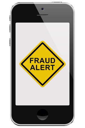 fraud: Cell Phone with Fraud Alert Message Warning isolated on a white background Stock Photo