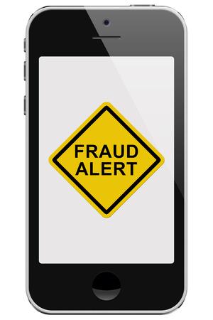 alerta: Teléfono celular con Alerta de fraude mensaje de advertencia aislado en un fondo blanco Foto de archivo