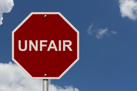 unfair: Unfair Sign, Red Stop sign with word Unfair with sky background Stock Photo