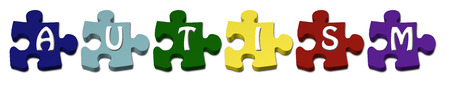 Colored Autism Puzzle pieces with isolated on white photo