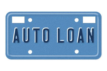 plaque immatriculation: Les mots de pr�t auto sur une plaque d'immatriculation bleue isol� sur fond blanc