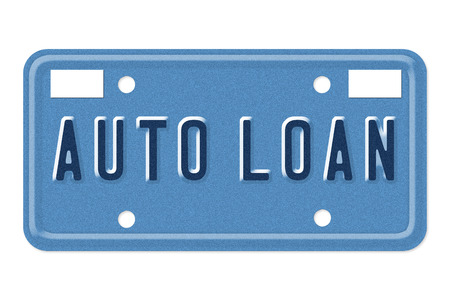 The words Auto Loan on a blue license plate isolated on white photo