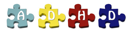 social awareness symbol: Colored ADHD Puzzle pieces with isolated on white