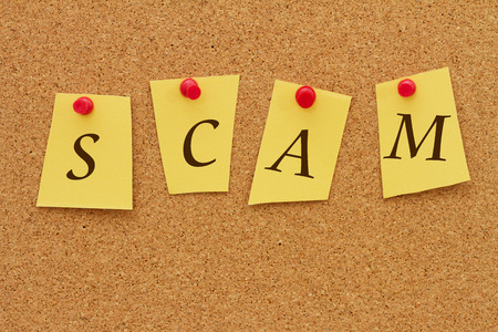 inform information: Scam Notice, Four yellow notes on a cork board with the word Scam