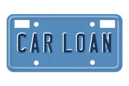 The words Car Loan on a blue license plate isolated on white photo