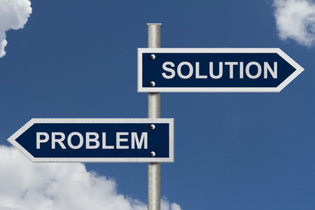 Blue street signs with blue sky with words Problem and\ Solution, Problem versus Solution