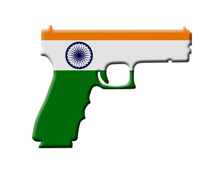 Handgun weapon laws in India, A Handgun in the Indian flag colors photo