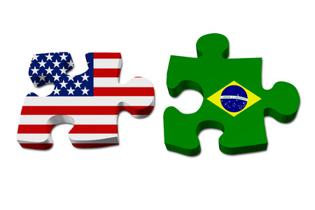 US working with Brazil, Puzzle pieces with the US flag and Brazilian flag isolated over white