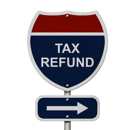 Tax Refund this way, Blue and Red Interstate Sign with word Tax Refund and an arrow isolated over white photo