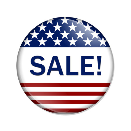 sales promotion: American Sale Button , A white button red stripes and stars with words Sale isolated on a white background