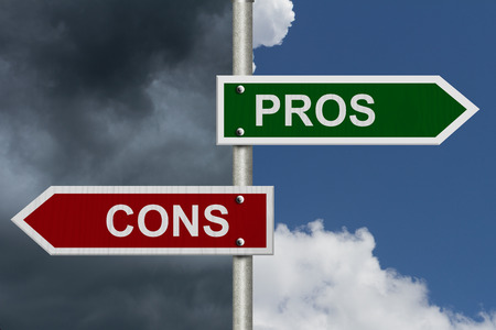 cons: Blue street signs with blue and stormy sky with words Pros and Cons, Pros versus Cons