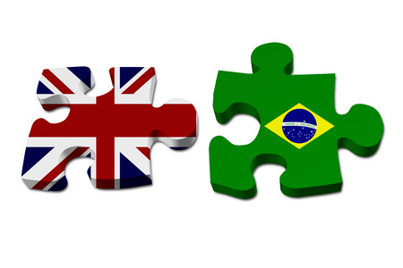 brazilian flag: England working with Brazil, Puzzle pieces with the British flag and Brazilian flag isolated over white