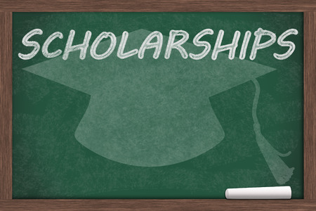 scholarship: Getting a school scholarship, Scholarship written on a chalkboard with chalk and a grad cap