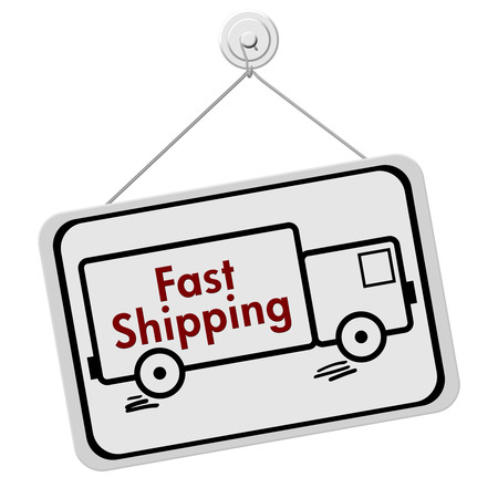overnight: A red and white sign with the words Fast Shipping in a truck isolated on a white background