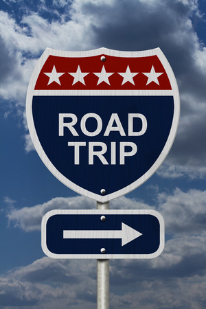 highway icon: Road Trip Sign, A red, white and blue highway sign with words Road Trip and an arrow sign with sky background