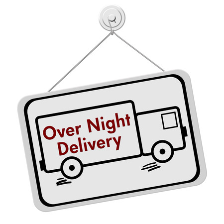 overnight: A red and white sign with the words Over Night Delivery in a truck isolated on a white background, Over Night Delivery Sign