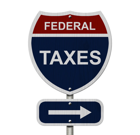 federal states: Federal Taxes this way, Blue and Red Interstate Sign with word Federal Taxes and an arrow isolated over white