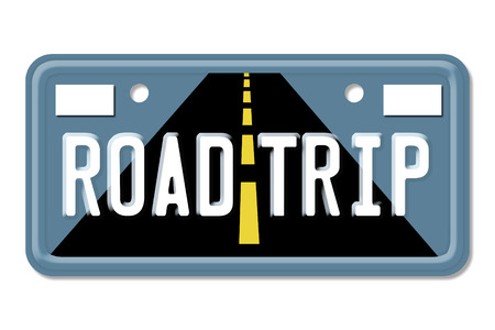 Road Trip, The words Road Trip on a blue license plate isolated on white photo