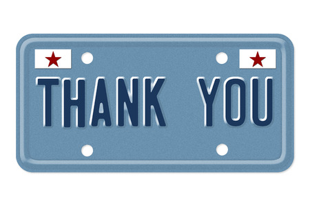 Thank You, The words Thank You on a blue license plate isolated on white photo