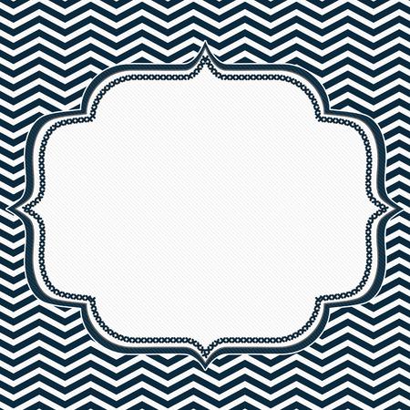 azul marino: Marco azul y blanco de la marina de guerra Chevron con el fondo de bordado con el centro para la copia-espacio, marco clásico Chevron