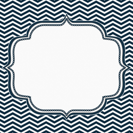 Navy Blue and White Chevron Frame with Embroidery Background with center for copy-space, Classic Chevron Frame Stock Photo