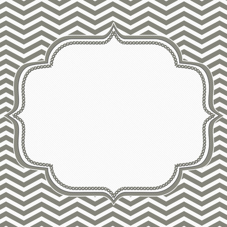 gray: Gray and White Chevron Frame with Embroidery Background with center for copy-space, Classic Chevron Frame Stock Photo