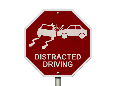 car on the road: No Distracted Driving Sign, Red stop sign with words Distracted Driving and accident icon isolated on white