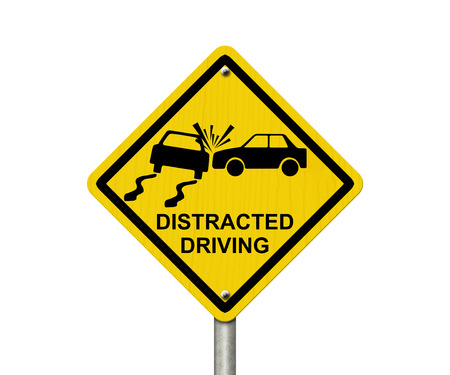 No Distracted Driving Sign, Yellow warning sign with words Distracted Driving and accident icon isolated on white photo