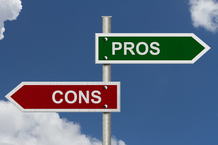 Blue street signs with blue sky with words Pros and Cons, Pros versus Cons photo