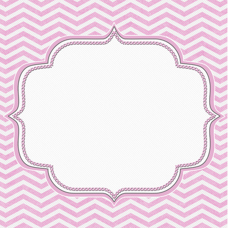 Pink and White Chevron Frame with Embroidery Background with center for copy-space, Classic Chevron Frame Banque d'images