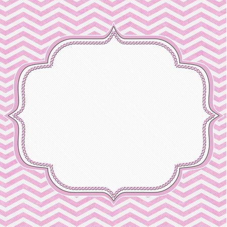 horizontal lines: Marco rosado y negro de Chevron con el fondo de bordado con el centro para la copia-espacio, marco clásico Chevron Foto de archivo