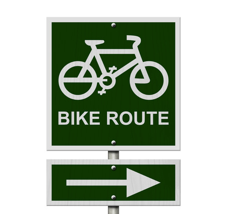 Bike Route Sign, An  green road sign with bike icon and arrow isolated on white Banco de Imagens