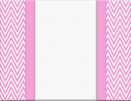 Pink and White Chevron Zigzag Frame with Ribbon Background with center for copy-space, Classic Chevron Zigzag Frame photo