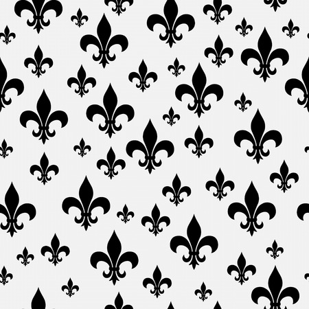 fleur de lis: Black and White Fleur-de-lis Pattern Repeat Background that is seamless and repeats Stock Photo
