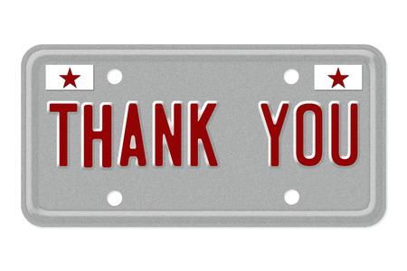 Dank u, de woorden danken u op een grijs kenteken geïsoleerd op wit Stockfoto