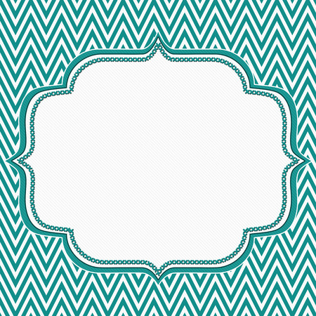Teal and White Chevron Zigzag Frame Background with center for copy-space, Classic Chevron Zigzag Frame photo