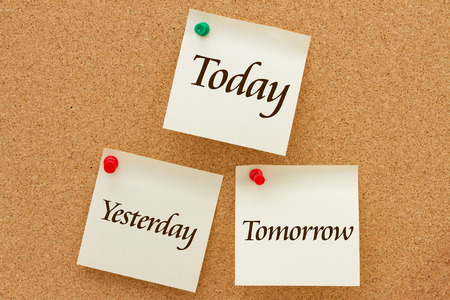 today: Yesterday, Today and Tomorrow, Three yellow sticky notes on a cork board with the words Yesterday, Today and Tomorrow