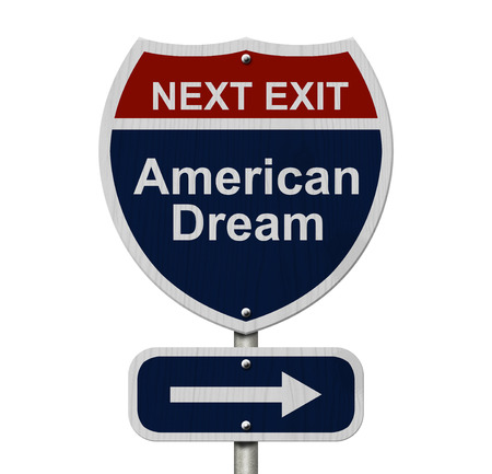 american dream: Sign with word American Dream and an arrow isolated over white