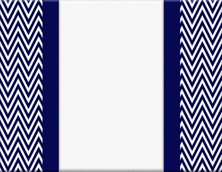 Navy Blue and White Chevron Zigzag Frame met lint Achtergrond met centrum voor exemplaar-ruimte