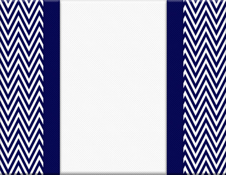 Navy Blue and White Chevron Zigzag Frame with Ribbon Background with center for copy-space