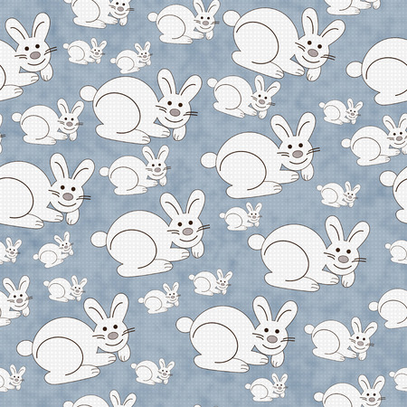 Blue and White Bunny Textured Fabric Pattern Background that is seamless and repeats photo