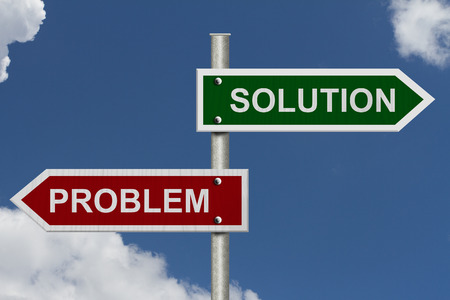 solution: Red and Green street signs with blue sky with words Problem and Solution, Problem versus Solution Stock Photo