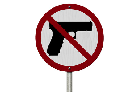 No Firearms Allowed Sign, An red road sign with handgun icon and not symbol isolated on white photo