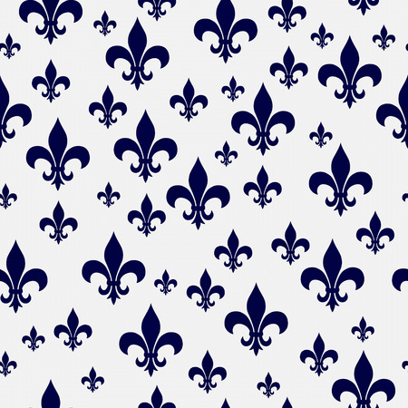 Navy Blue and White Fleur-de-lis Pattern Repeat Background that is seamless and repeats