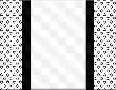 Black and White Star of David Patterned Frame with Ribbon Background  photo